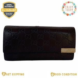 🌻💯 Gucci wallet long leather brown GG LOGO